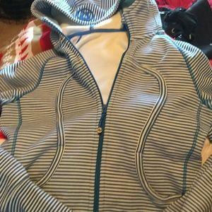 Lululemon.. Stripe hooded heavy scuba jacket 8